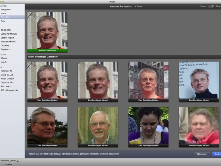 Gesichter: Halbautomatisch findet iPhoto in allen Bildern gleiche Gesichtszüge und erleichtert die Zuordnung von Gesichtern zu Menschen. Durch den Gebrauch verbessert sich die Trefferquote.