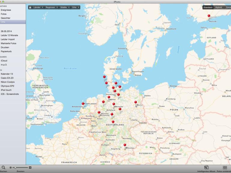 Orte: Viele Bilder sind inzwischen mit Ortsinformationen versehen. iPhoto erkennt GPS-Informationen und stellt die Bilder als Stecknadeln auf die Landkarte von OpenStreetMap.