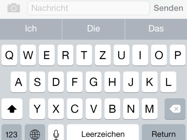 """Die Tastatur in Apples """"Nachrichten""""-App."""