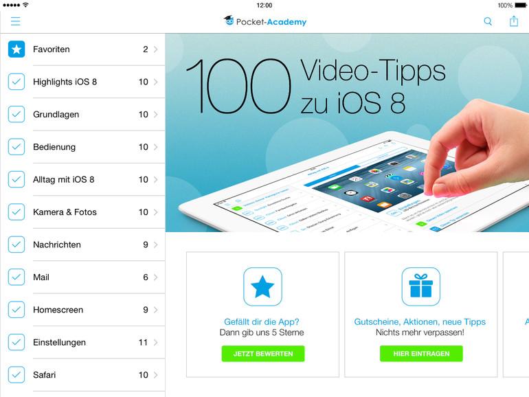 100 Video-Tipps für iOS 8 gibt es nicht nur für das iPhone, sondern auch für Apples neue iPads - das iPad Air 2 und iPad mini 3