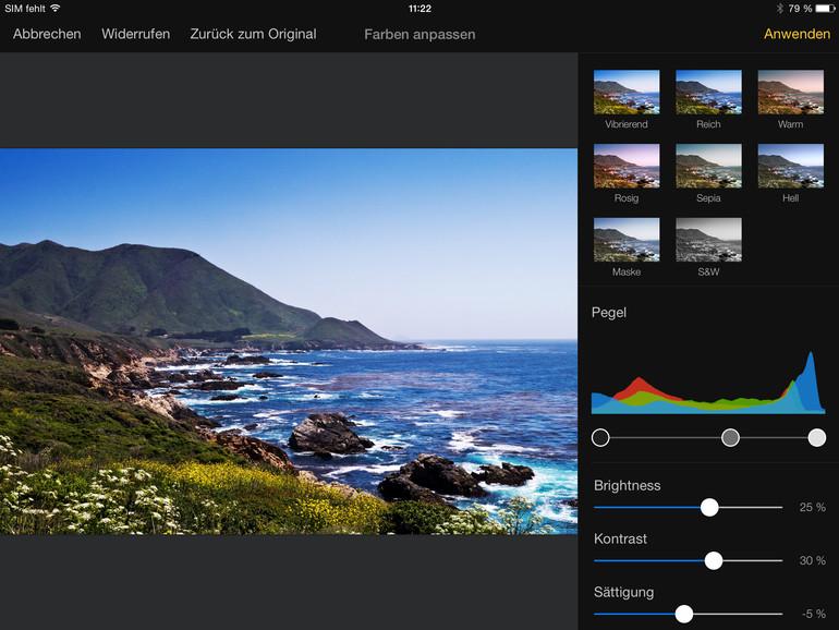 Für schnelle Farbänderungen liefert Pixelmator acht Presets mit