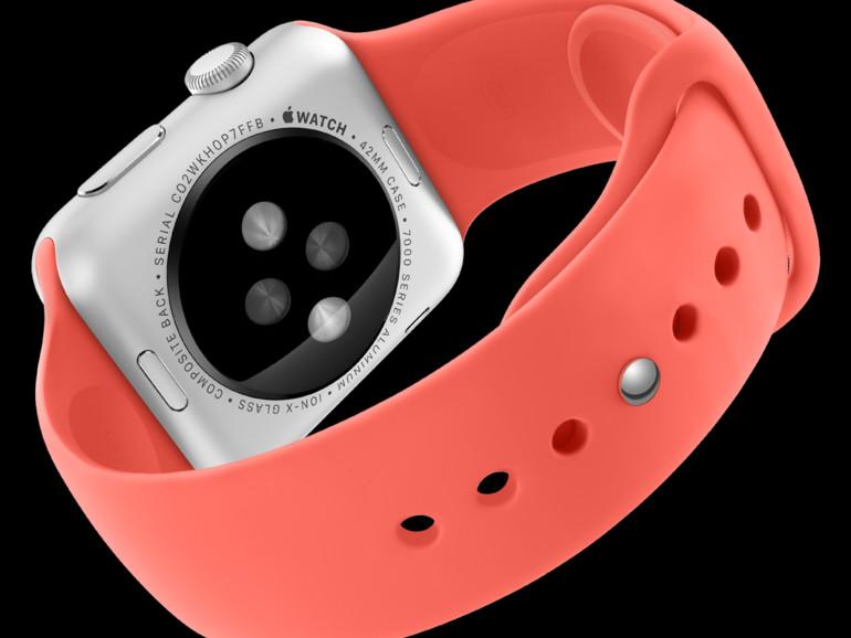 Apple Watch Sport kommt im eloxierten Aluminiumgehäuse in Silver oder Space Gray mit gehärtetem Ion-X Glas und einem farbigen Armband aus Fluorelastomer