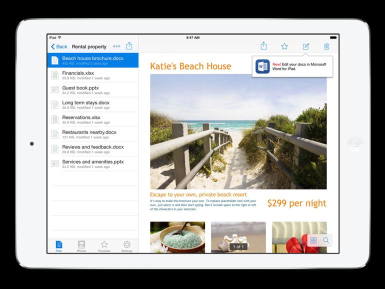 Office-Dokumente können jetzt direkt aus der Dropbox-App heraus bearbeitet werden.