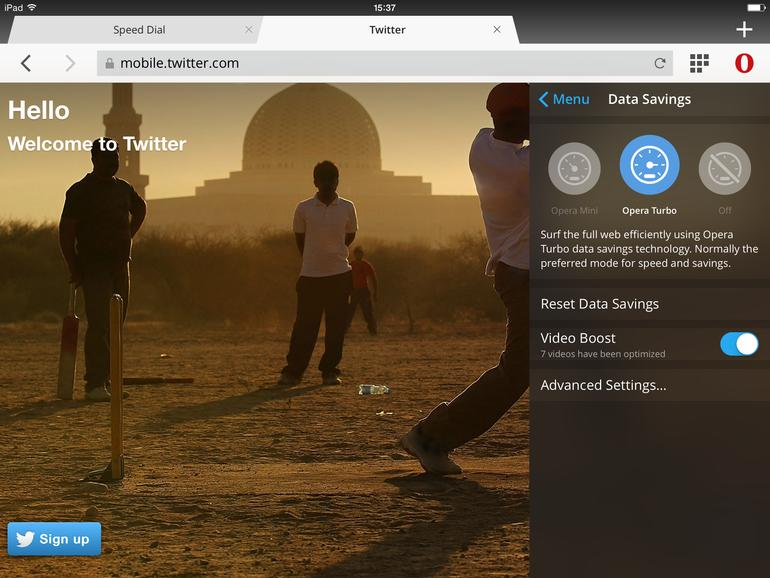 Die Komprimierungseinstellungen von Opera Mini 9 auf dem iPad