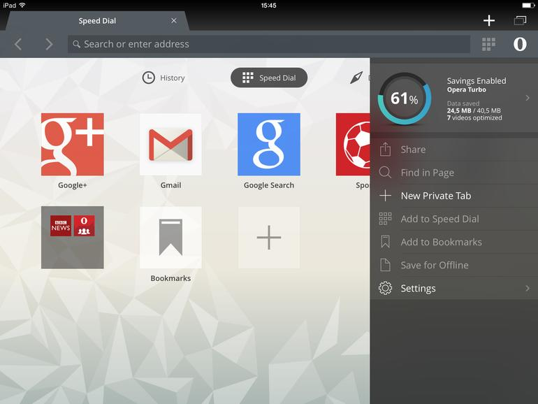 Datenersparnis-Anzeige in Opera mini 9 auf dem iPad