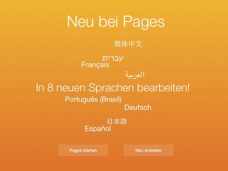 Apples iWork Office-Suite spricht jetzt auch in der iCloud deutsch