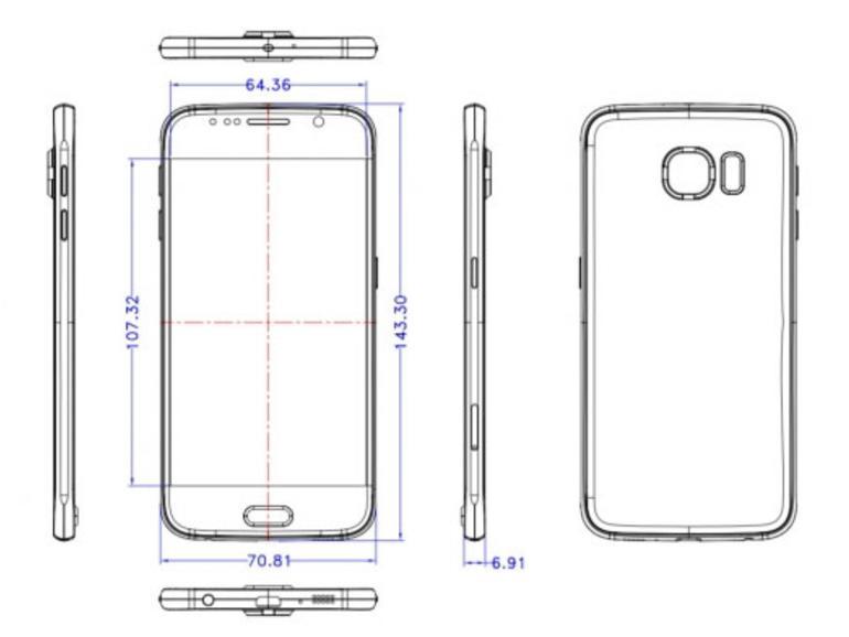 Der Rahmen des Galaxy S6 ähnelt in den schematischen Zeichnungen und den Render-Bildern dem Rahmen des iPhone 6 enorm