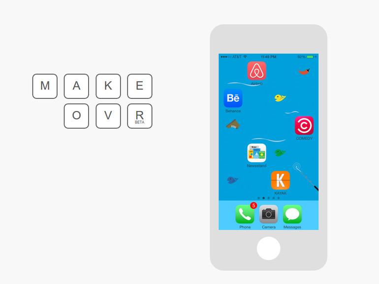 Makeovr kommt mit einigen voreingestellten Hintergundbildern, mit denen die App ab Werk funktioniert