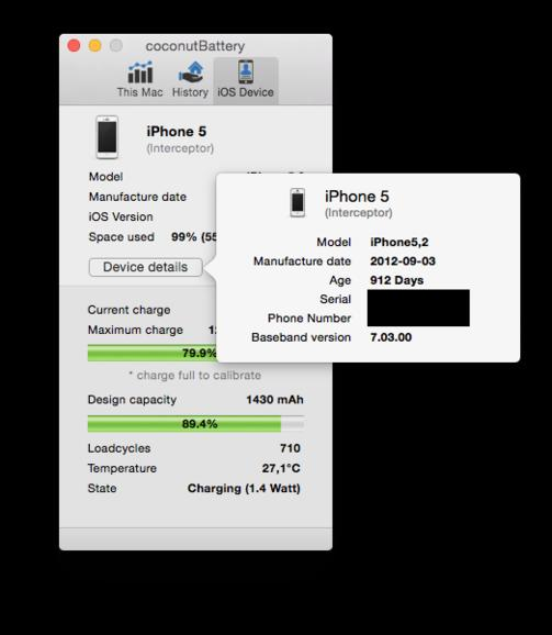 Details zum iPhone 5 in CoconutBattery