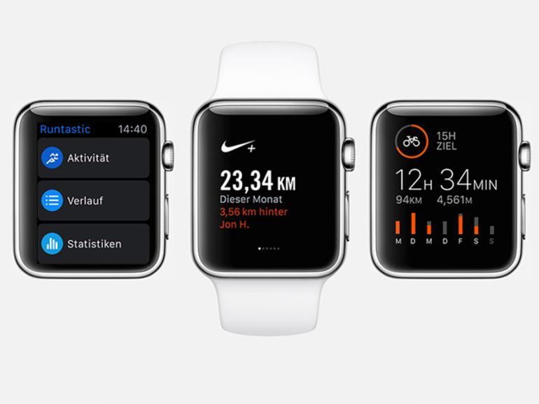 Runtastic, Nike+ Running und Strava Laufen & Radfahren bieten bereits jetzt einen großartigen Support für die Apple Watch