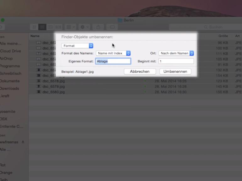 Der Finder ermöglicht dem Nutzer viele Funktionen