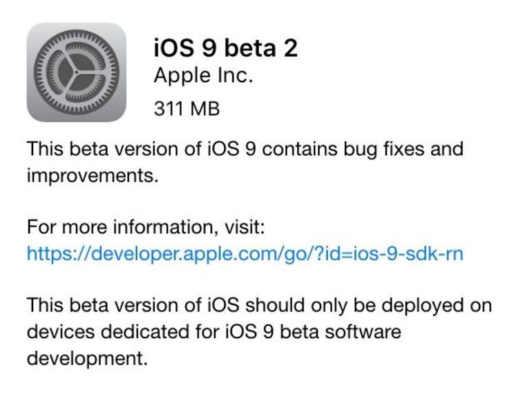 Seit gestern Abend steht iOS 9 Beta 2 für Entwickler bereit