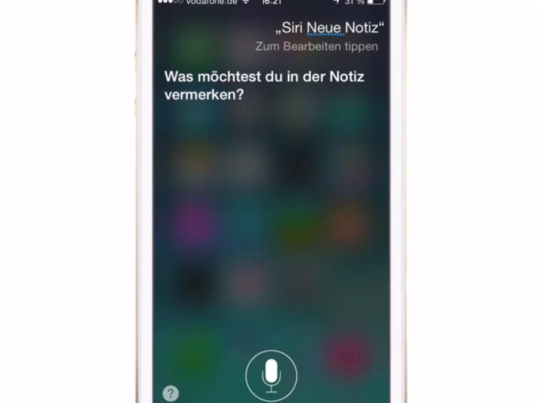Siri kann viele Dinge erledigen: zum Beispiel ein Diktat entgegen nehmen