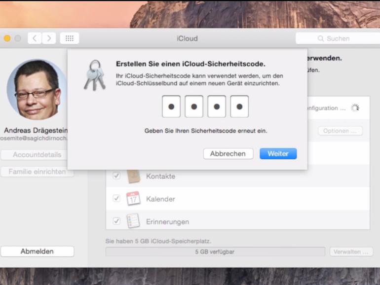 Sie können die Daten in Ihrer iCloud mit einem Sicherheitscode schützen