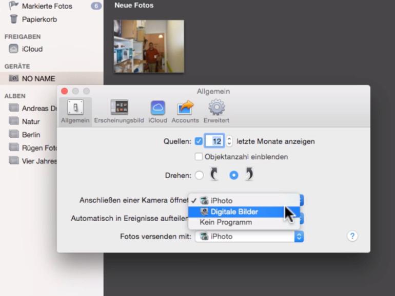 OS X erkennt automatisch, wenn sie eine Kamera an den Mac anschließen