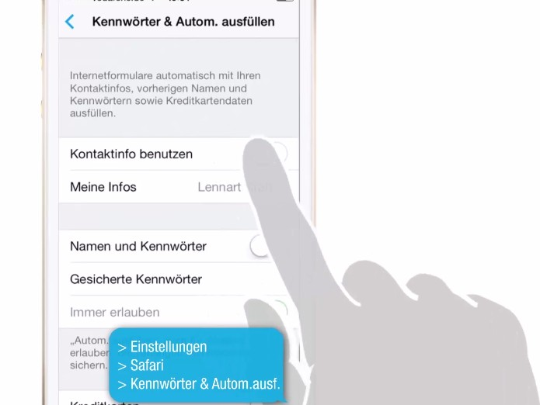 Safari kann Ihre Passwörter verwalten