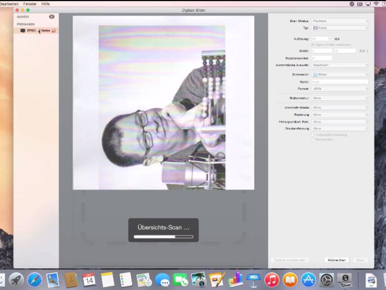 Die App Digitale Bilder kann auch scannen