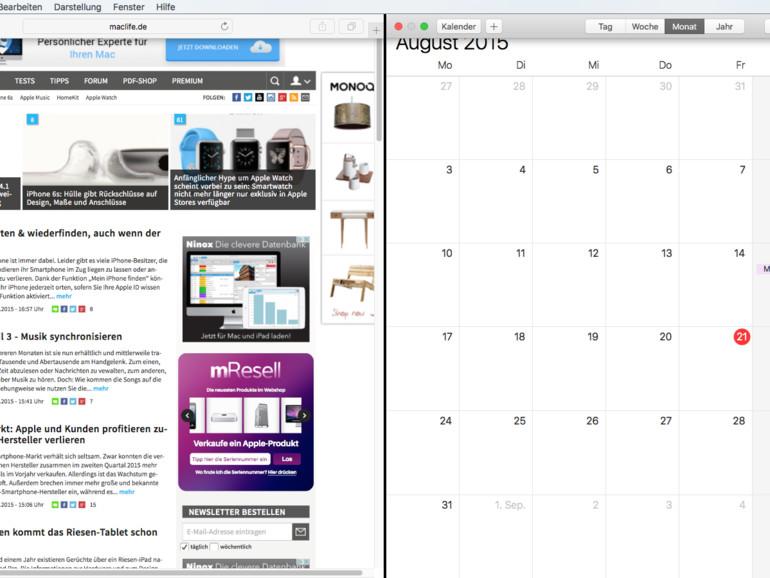 OS X El Capitan: Split View verwenden