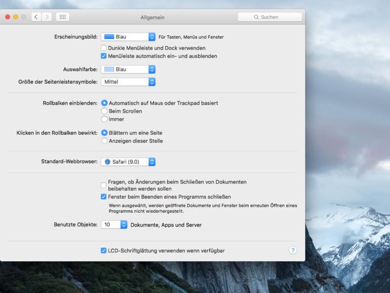 OS X El Capitan: Menüleiste ausblenden