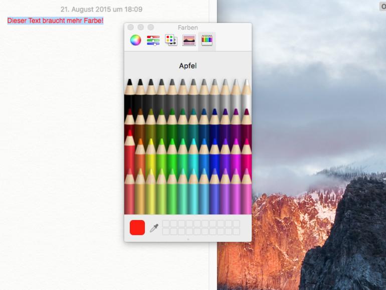 OS X El Capitan: Neues Farbauswahl-Werkzeug