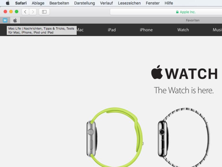 OS X El Capitan: Website-Pin anlegen