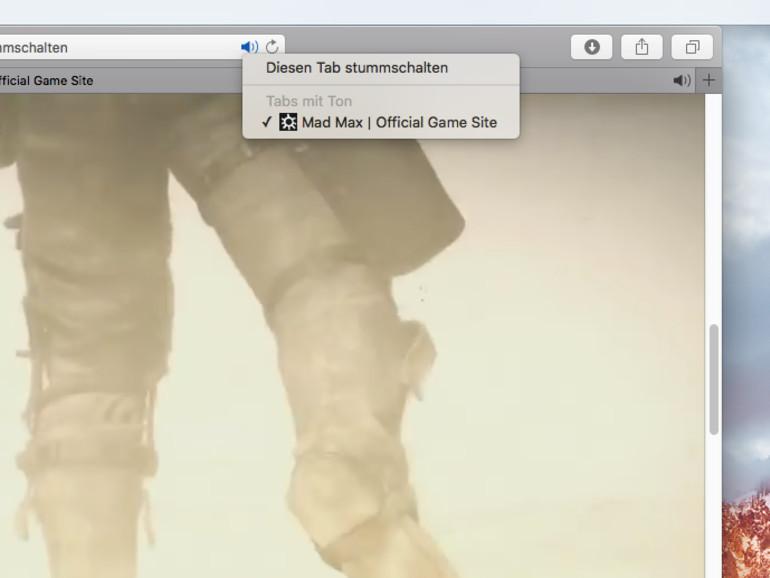 OS X El Capitan: Tab in Safari stummschalten