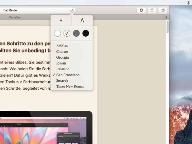 OS X El Capitan: Lesemodus anpassen