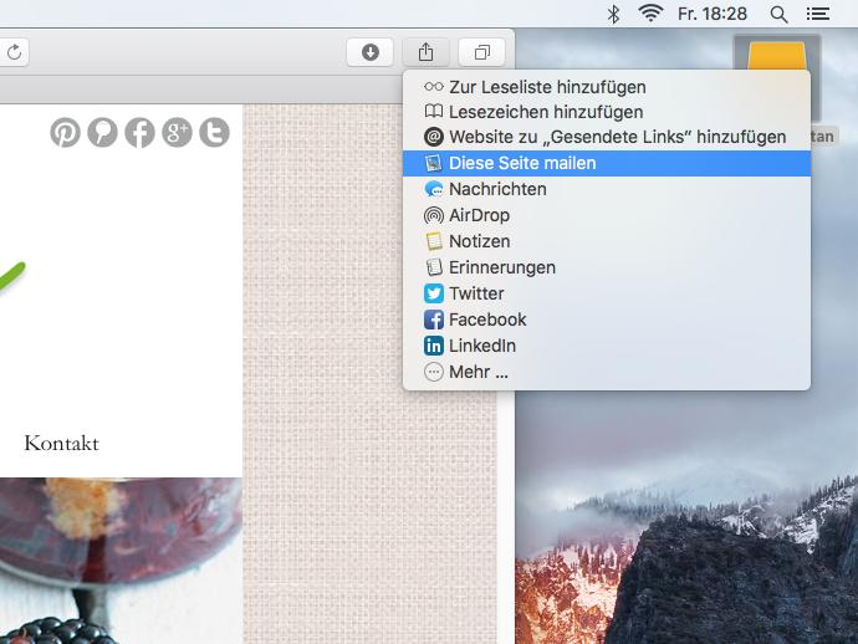 OS X El Capitan: Links aus Safari heraus teilen