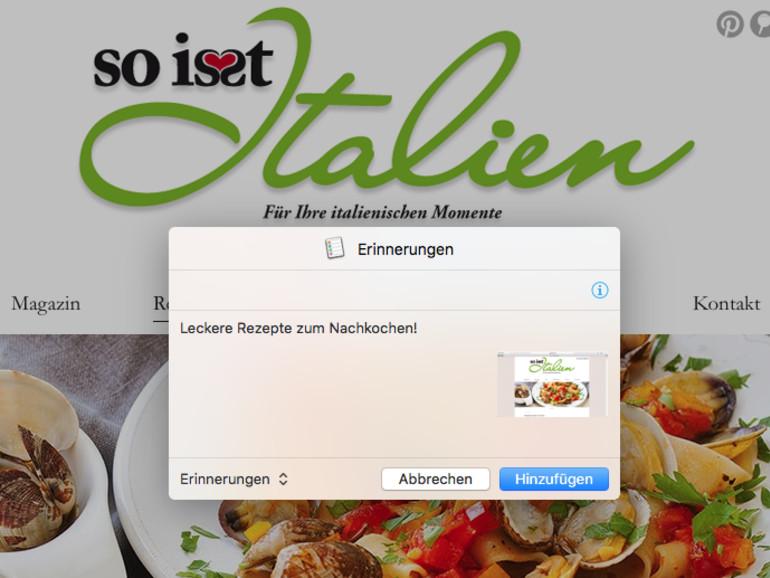 OS X El Capitan: Erinnerungen im Teilen-Menü erstellen