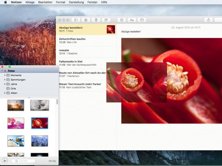 OS X El Capitan: Fotos und Videos zu Notizen hinzufügen