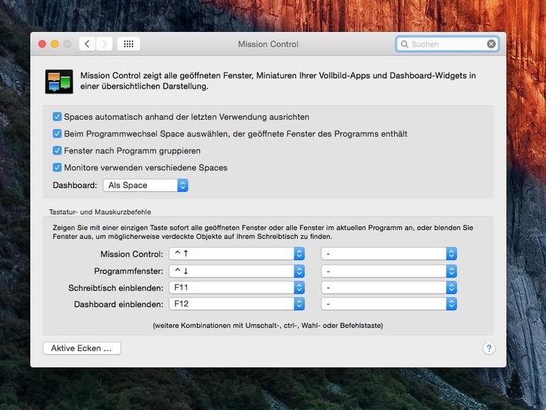 Unter OS X Yosemite und später müssen Sie Dashboard gesondert aktivieren.