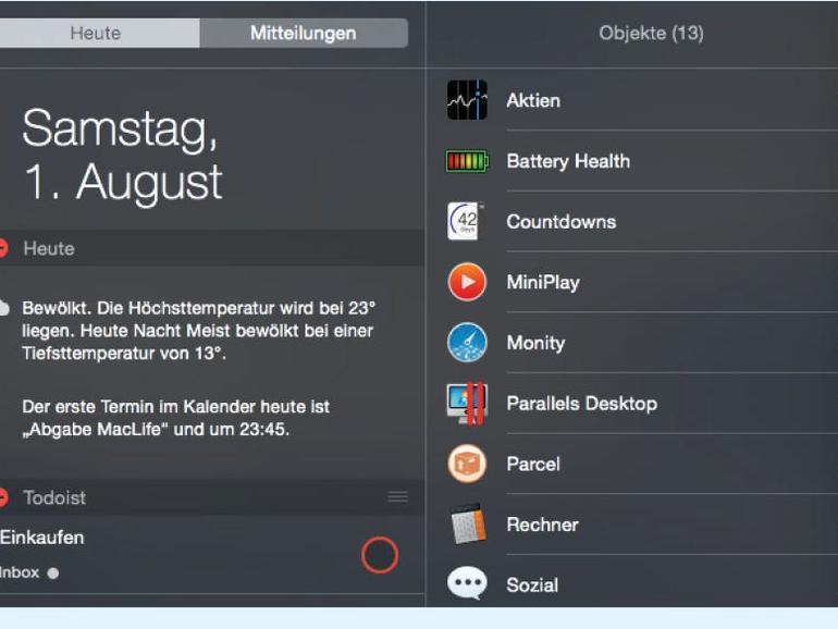 Die besten Widgets für die Mitteilungszentrale in OS X El Capitan