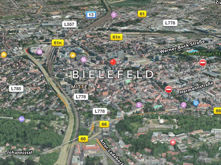 Auch Bielefeld ist nun in 3D und der Flyover-Ansicht verfügbar