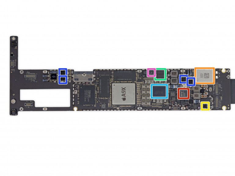 Auf dem Logic Board hat iFxiti den USB 3.0 Host Controller rot markiert