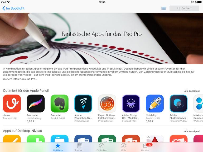 Apple zeigt iPad Pro Apps in gesonderter Kategorie