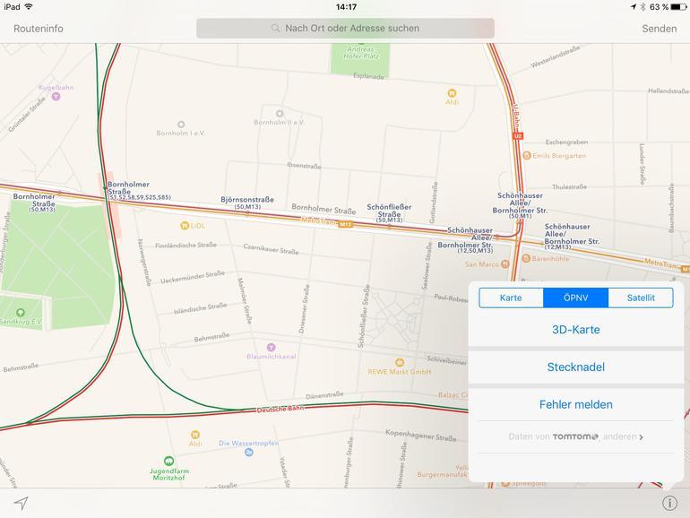 Die ÖPNV-Kartenansicht hebt zur besseren Darstellung Bahn- und Buslinien auf der Karte deutlich hervor.