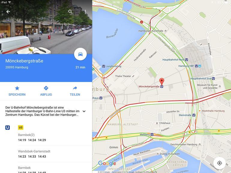 Google Maps ruft zu jeder angetippten Haltestelle die planmäßigen Abfahrtszeiten aus dem Netz ab.