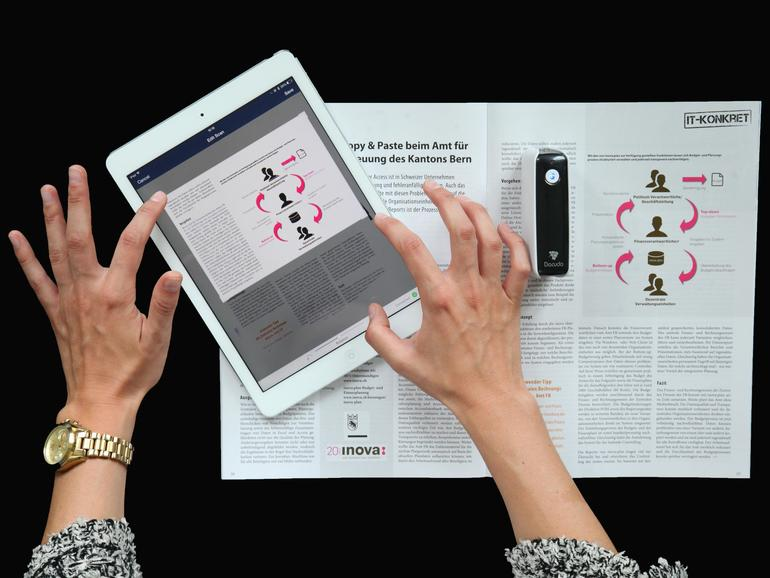 Der kabellose Scanner Pocketscan von Dacuda erlaubt Scans bis zu einer Größe von DINA2.