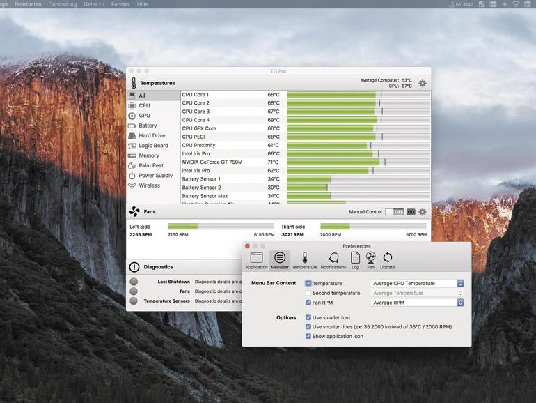 TG Pro überwacht die Temperaturen deines Macs und kontrolliert den Lüfter.