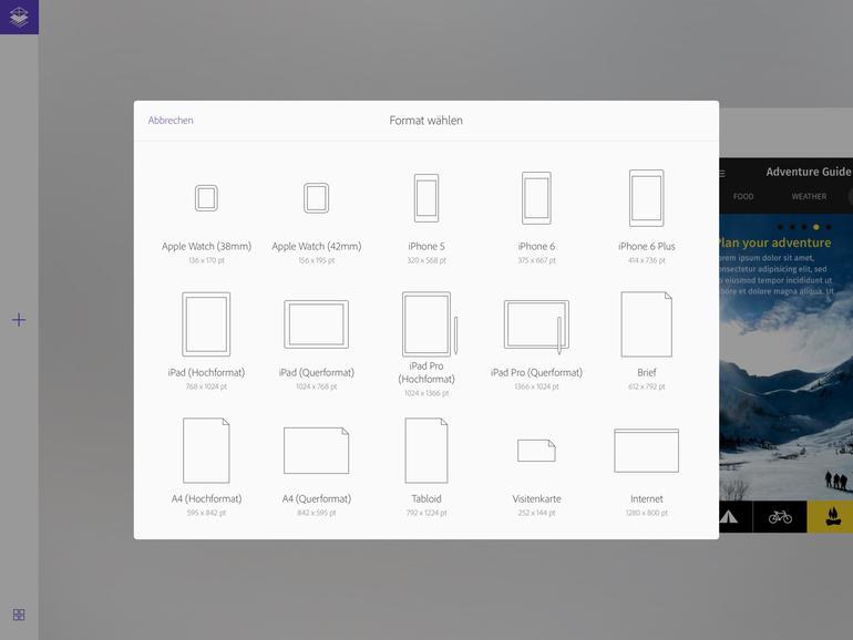 Format wählen: Vorlagen für gängie Druck- und Bildschirmgrößen sind dabei.