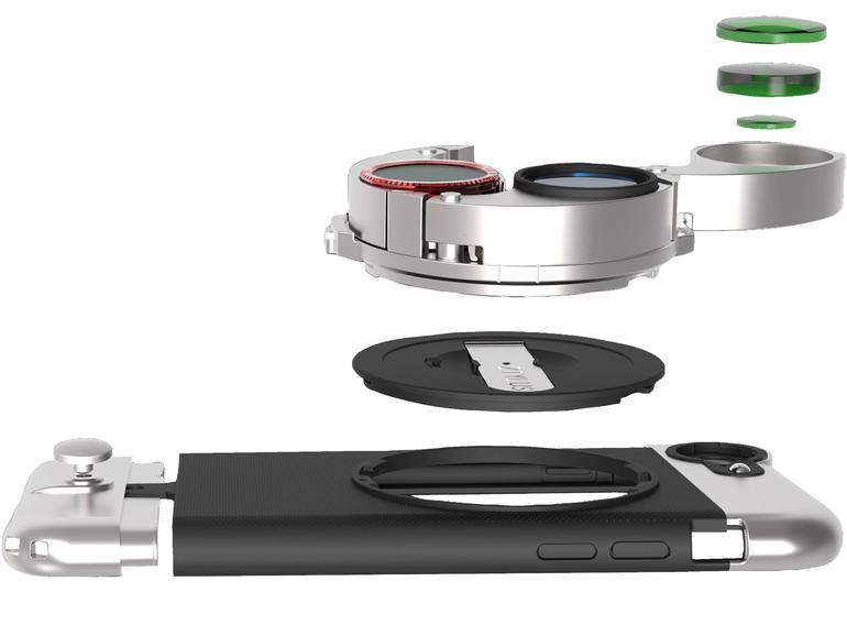 In der Trommel der ZOptics sind vier verschiedene Linsen untergebracht. Sie kann einfach auf das passende Case geschraubt werden.