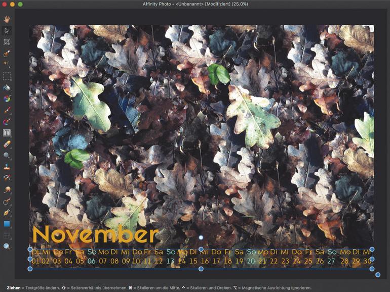 Affinity Photo in der Praxis: So erstellst du einen Kalender
