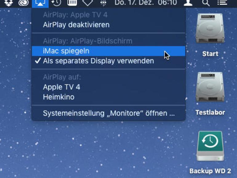 Über das AirPlay-Menü kannst du schnell die Ausgabe aktivieren oder den Modus wechseln.