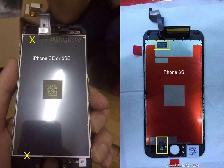 Bild des angeblichen iPhone 5SE-Displays und im Vergleich das iPhone 6s-Display