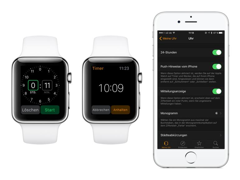 Der Timer sowie der Wecker können auch vom iPhone übernommen werden
