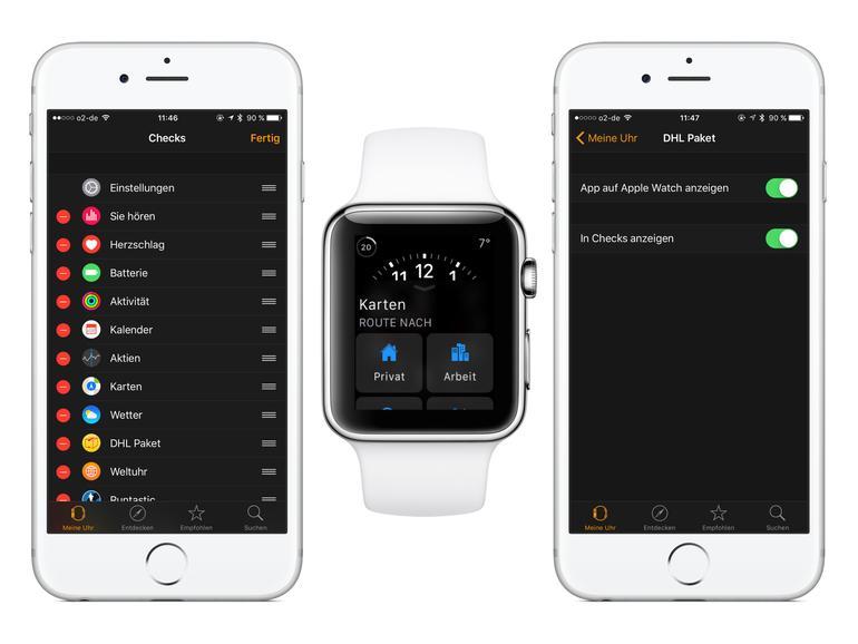 Die Watch-App hilft bei der Verwaltung von Checks