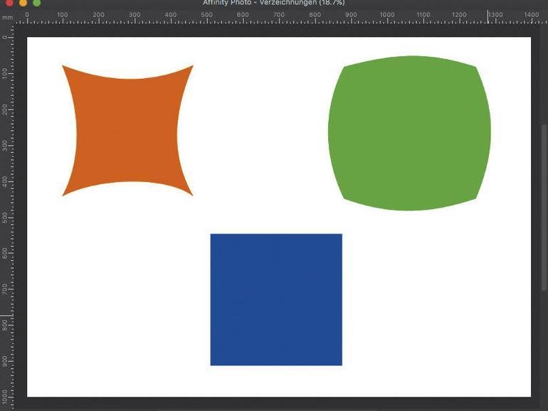 Links oben siehst du eine kissenförmige und rechts oben eine tonnenförmige Verzeichnung. Als Vergleich ist unten das Originalquadrat ohne Verzeichnung abgebildet.