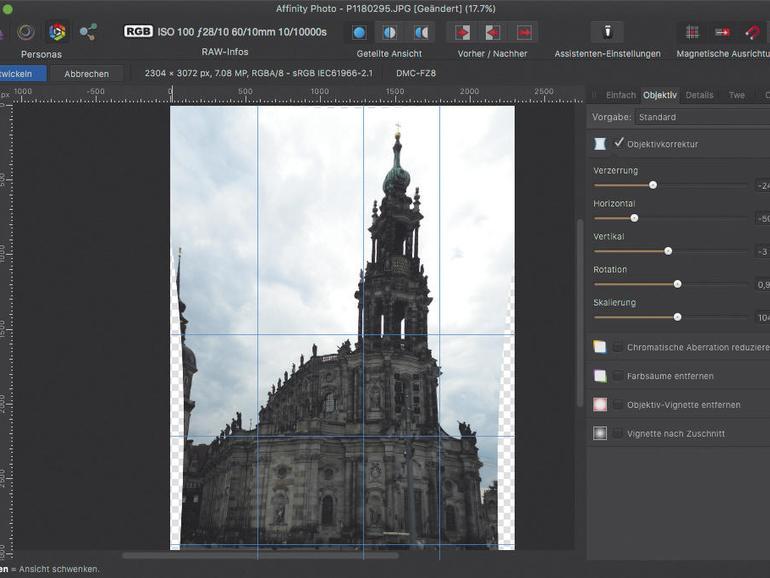 Objektiv Verzeichnung korrigieren mit Affinity Photo