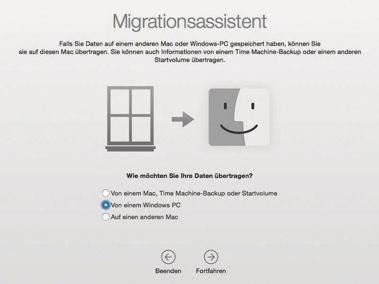 Der Migrationsassistent hilft dir beim Umstieg von einem Windows-PC
