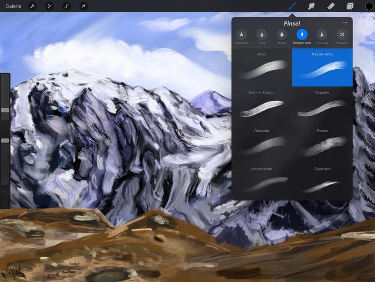 Neigungserkennung beim iPad Pro: Durch Verändern des Winkels kann mit dem Apple Pencil schraffiert werden.